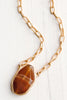 Faceted Natural Agate Pendant on Matte 22 kt Gold Chain Necklace