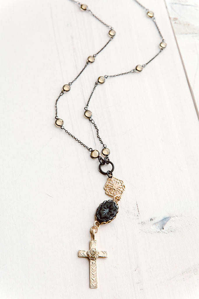 Gunmetal, Gold and Crystal Delicate Cross Pendant Necklace