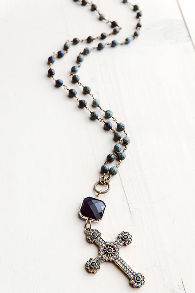 Sapphire Sterling Silver Turkish Cross Pendant on Sodalite Rosary Chain Necklace