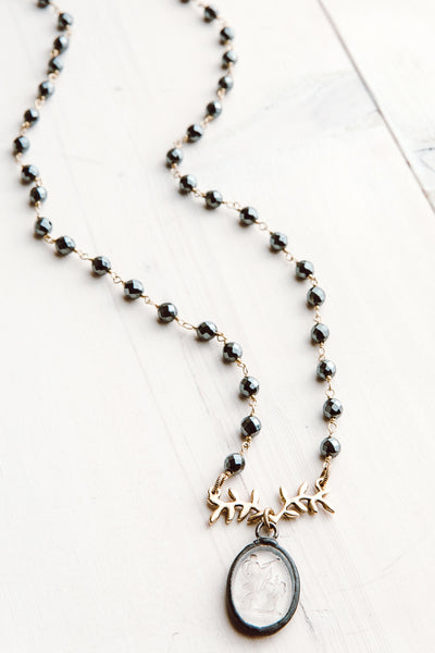 Vintage Embossed Intaglio Crystal Angel Pendant on Hematite and Gold Rosary Chain Necklace