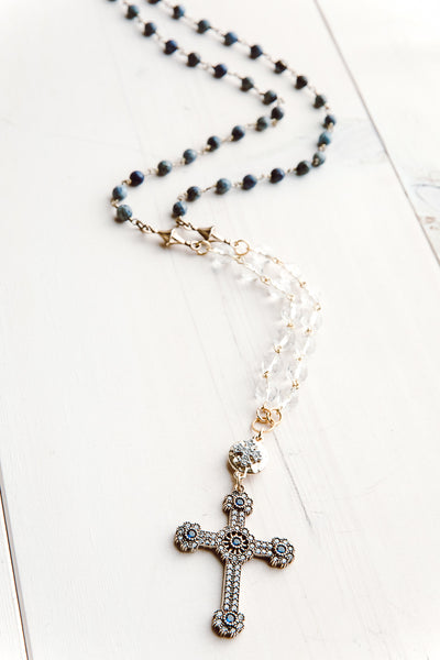 Sapphire and White Topaz Turkish Cross on Faceted Crystal & Sodalite Bead Rosary Chain Necklace