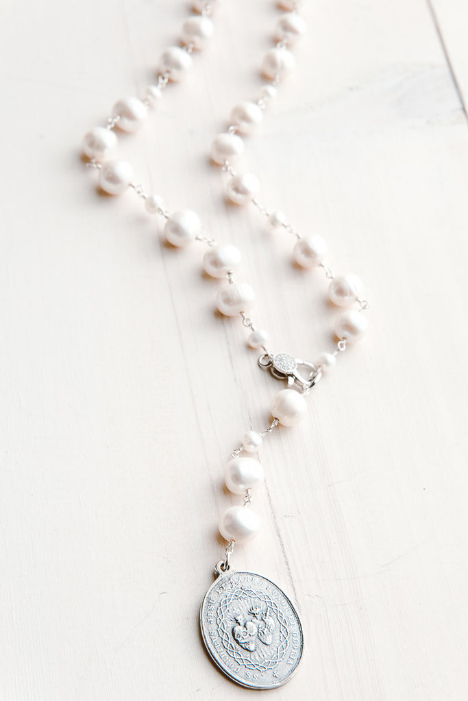 Vintage Medallion Pendant on White Freshwater Pearl and Sterling Silver Y Necklace