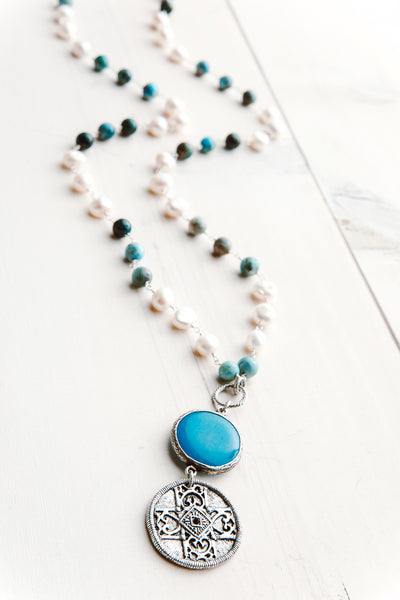 Vintage Silver Bronze Medallion on White Pearl and Amazonite Rosary Silver Chain
