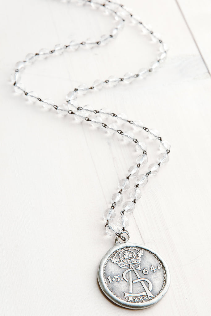 Hand Soldered Ancient Coin Pendant on Faceted Crystal Rosary Bead Necklace