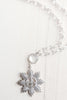Sparkling Pavé Starburst Fleur-de-Lis Pendant on Faceted Crystal Rosary Bead Necklace