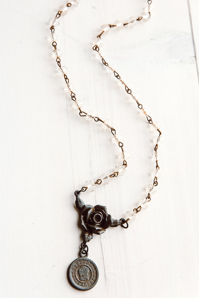 Dark Bronze Rose and Coin Pendant on Amber Quartz Rosary Chain