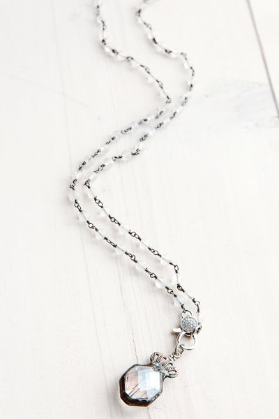 White Quartz Rosary Chain Short Necklace with Hand Soldered Crown Crystal Pendant