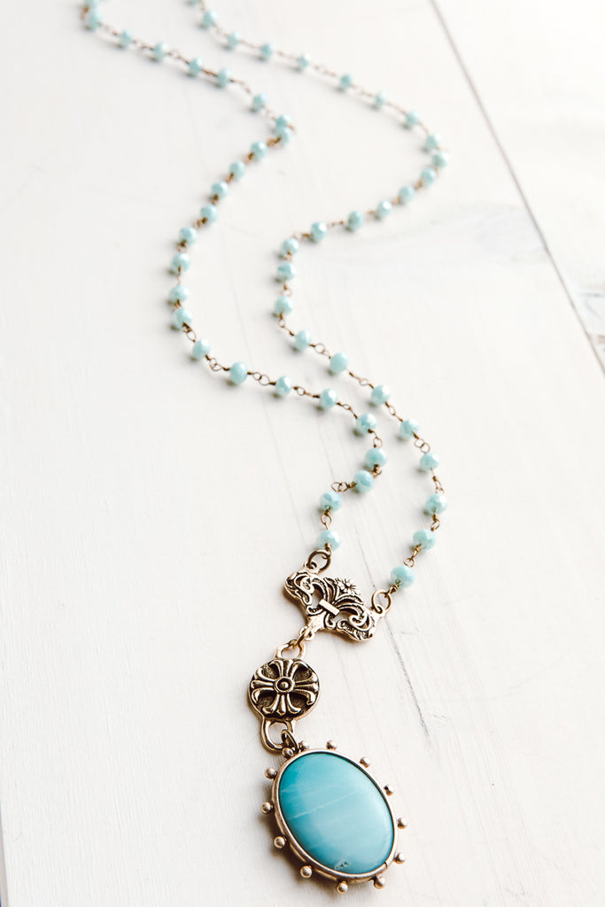 Bronze and Amazonite Rosary Chain Necklace