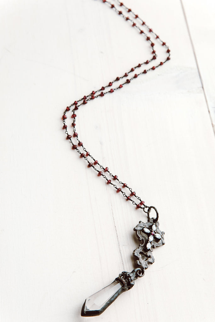 Soldered Faceted Crystal Stone with Cross on Purple Rosary Chain Necklace