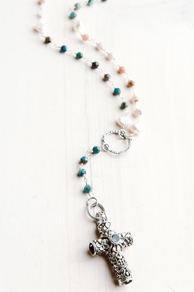 Balianese Silver Blue Topaz Pendant on Amazonite, Morganite and Pearl Y Necklace
