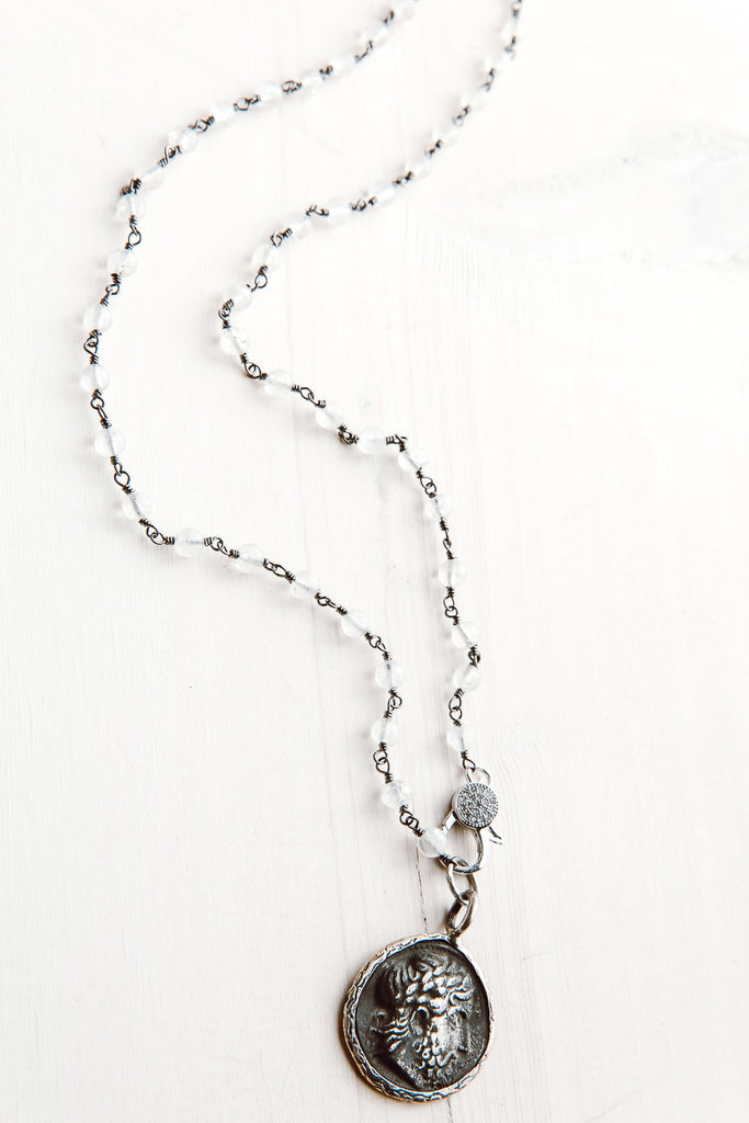 White Chalcedony Rosary Chain Short Necklace with Pavé Clasp & Ancient Coin