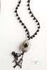 Black Agate & Tibetan Bead Tassel Pendant Necklace with Mixed Charms