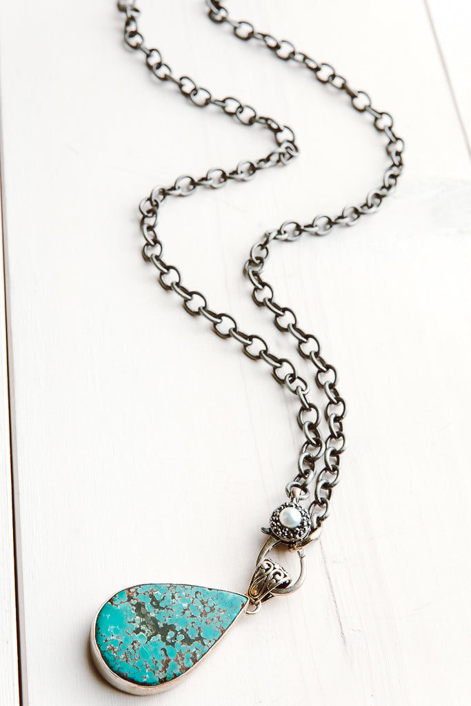 Turquoise and Silver Teardrop Pendant with Pavé Clasp on Silver Chain