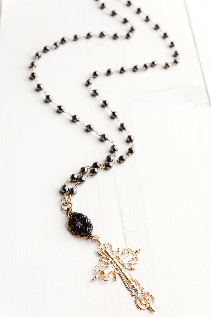22 kt Matte Gold Over Silver Filigree Cross Pendant on Hematite and Gold Rosary Chain