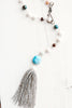 Amazonite and Freshwater Pearl Y Necklace with Silver Beaded Tassel