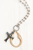 Gold and Silver Cutout Cross Pendant Necklace on Mixed Metal Rosary Chain