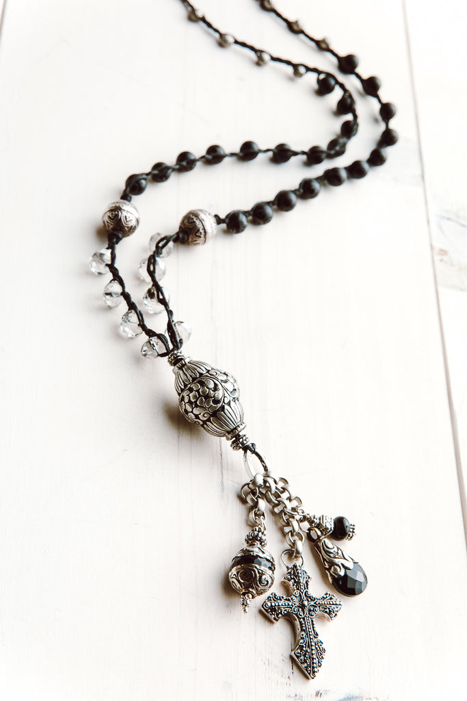 Black Agate and Clear Quartz Tibetan Bead Tassel Pendant Necklace with Mixed Charms