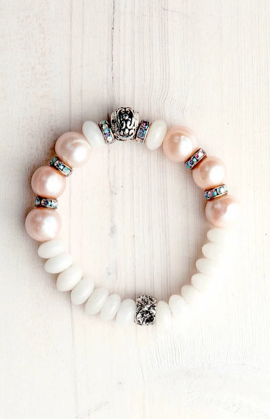 White Jade and Freshwater Pearl Stretch Bracelet