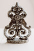 Vintage Iron Painted Finial Home Decor Piece with Vintage Crystal Cross and Crown