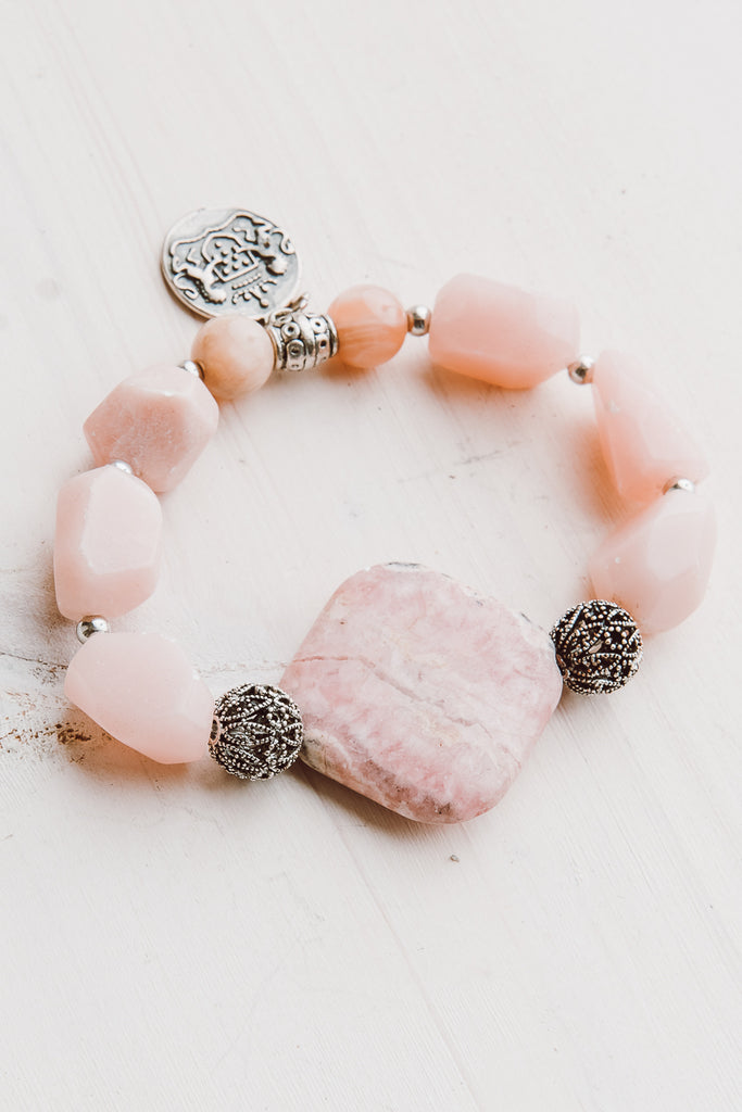 Peruvian Pink Opal, Pink Moonstone and Rhodochrosite Stretch Bracelet