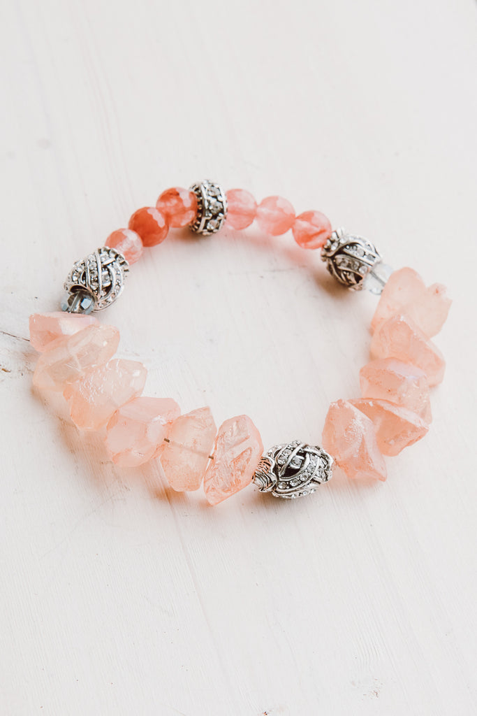 Coral Colored Quartz Crystal and Strawberry Quartz Stretch Bracelet with Silver Tone Beads