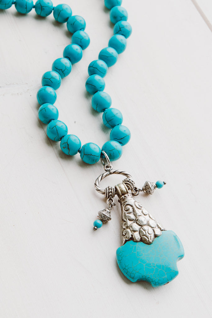 "Tibetan Silver Turquoise Cross on 18"" Hand Knotted Howlite Turquoise Beaded Necklace"