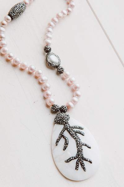Pink Pearls and Crystal Necklace with Black Crystal Beads and Mother of Pearl Pendant