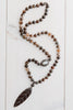 Brown Banded Agate Hand Beaded Necklace with Wood Leaf Pendant in Crystals, Pearl and Crystal Beads