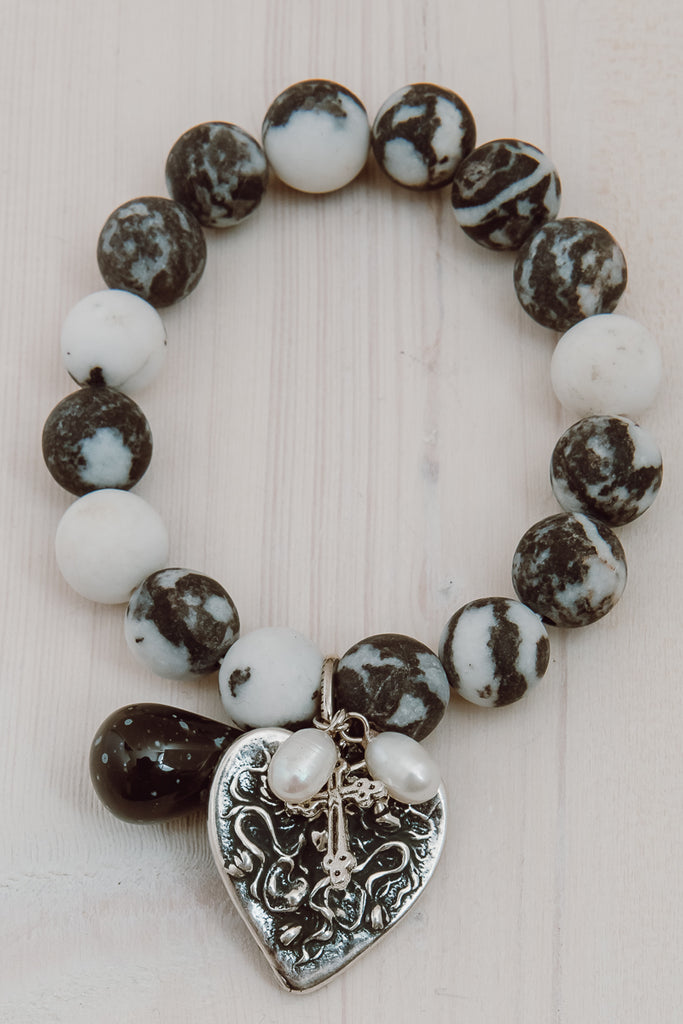 Zebra Matte Jasper Bracelet with Heart and Cross Charms and Freshwater Pearls
