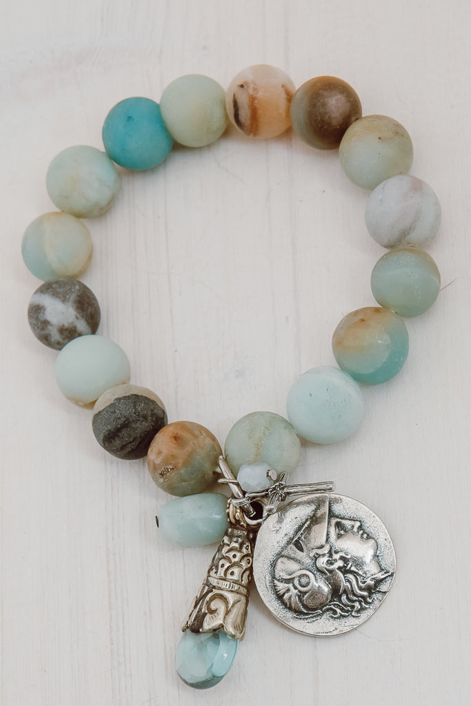 Multicolored Matte Amazonite Charm Bracelet with Coin Angel, Tibetan Drop and Cross