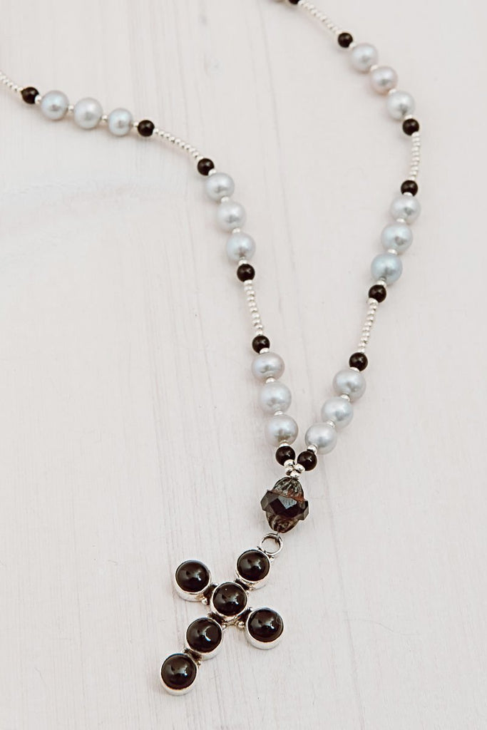 Sterling Silver Black Onyx Bezel Set Cross Pendant with Silver Freshwater Pearl Station Necklace