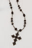 Vintage Black Onyx Cross on Black Onyx, Jasper, Hematite and Czech Turbine Bead Necklace