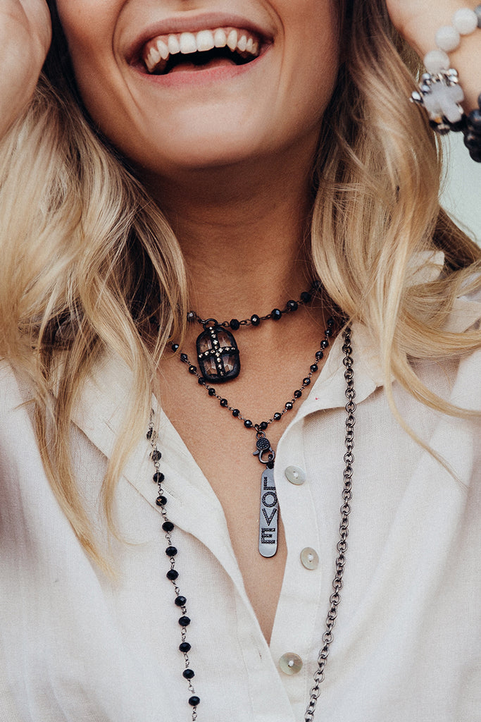 Pavé LOVE Pendant Necklace with Hematite and Sterling Silver Rosary Bead Chain