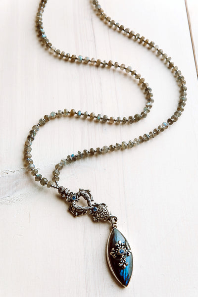 Fancy Labradorite Pendant with Faceted Labradorite Necklace