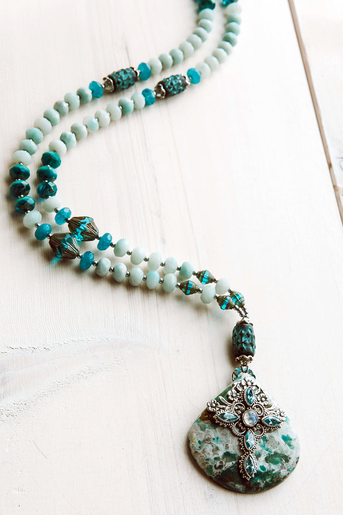 Ocean Jasper and Silver Blue Apatite Cross Pendant on Amazonite, Czech and Blue Patina Beads Necklace