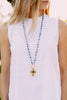 Layered Sterling Silver Sapphire Turkish Cross Pendant on Sodalite Rosary Chain Necklace