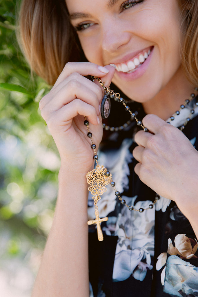 Gold Filigree & Cross Pendant on Hematite and Gold Rosary Chain