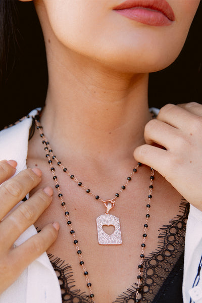 Cutout Heart Pave Tag on Delicate Rose Gold & Black Chain