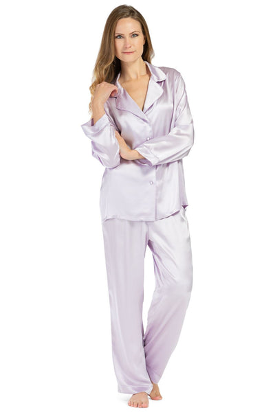 Women's 100% Mulberry Silk Classic Full Length Pajama Set with Gift Box - Fishers Finery