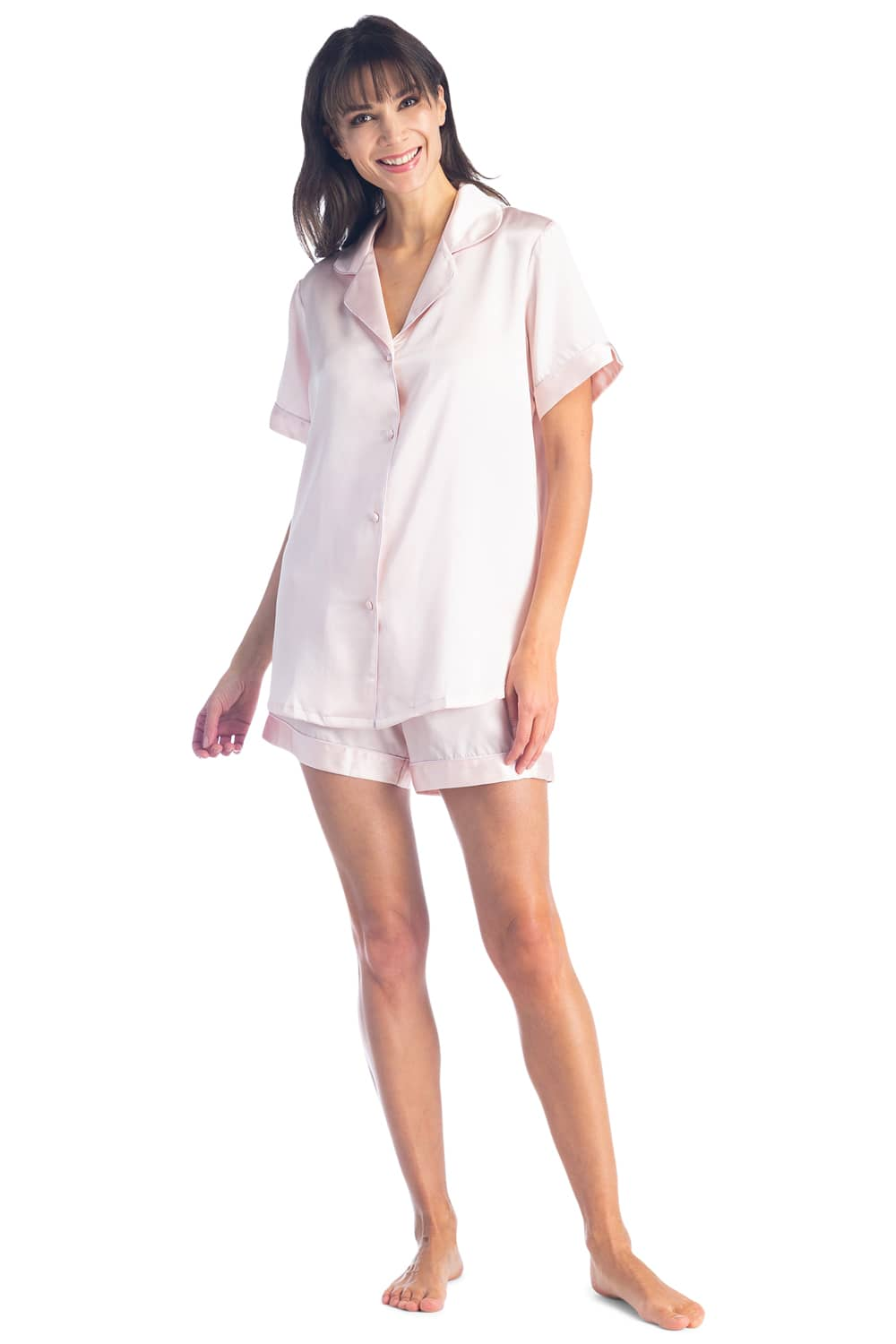 Women's 100% Mulberry Silk Short Sleeve Pajama Set with Gift Box - Fishers Finery