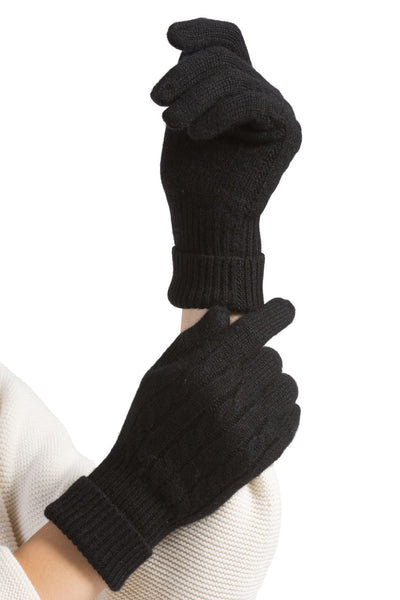 Women's 100% Pure Cashmere Cable Knit Gloves