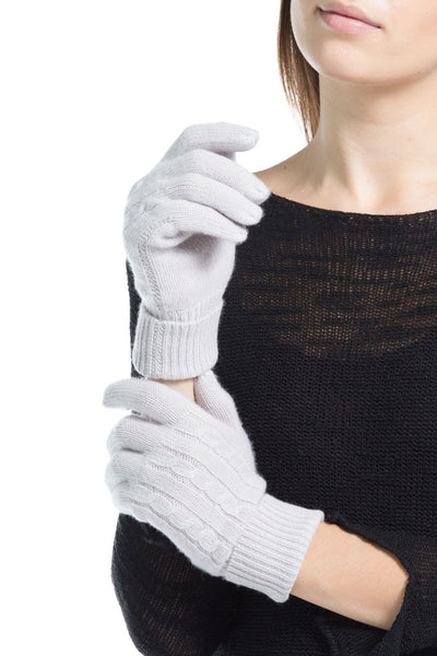 Women's 100% Pure Cashmere Cable Knit Gloves - Fishers Finery