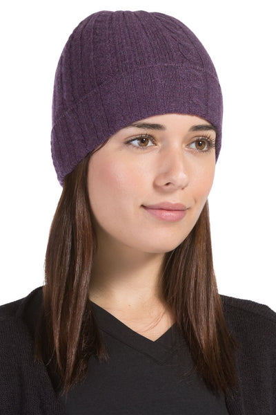 Women's 100% Pure Cashmere Cable Knit Hat - Fishers Finery