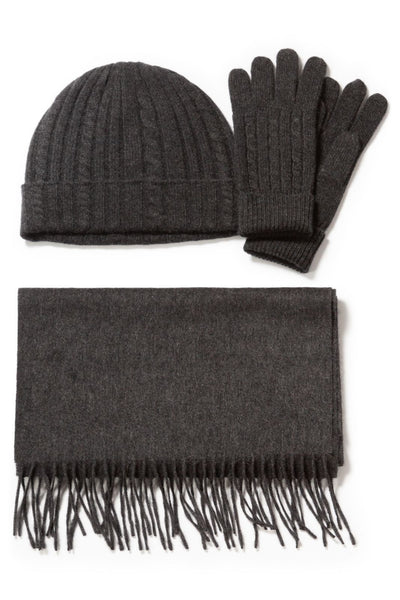 Women's 100% Pure Cashmere Hat, Glove, Scarf Set with Gift Box - Fishers Finery