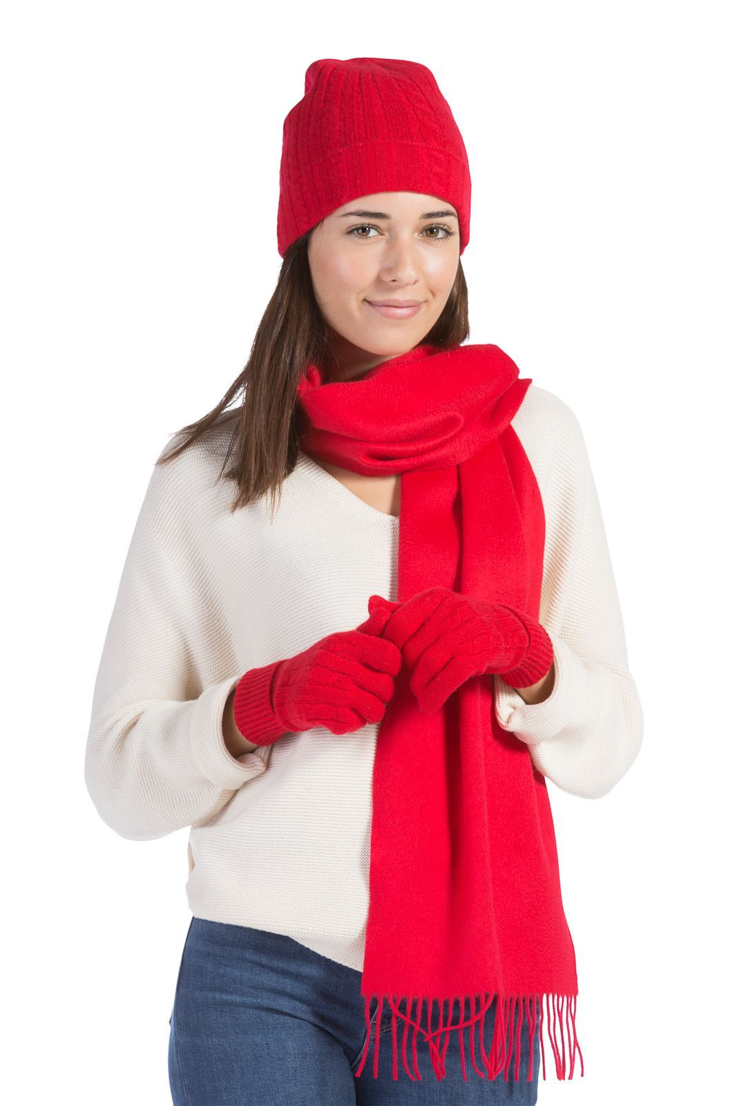 Women's 3pc 100% Pure Cashmere Hat, Glove, Scarf Set with Gift Box-Fishers Finery