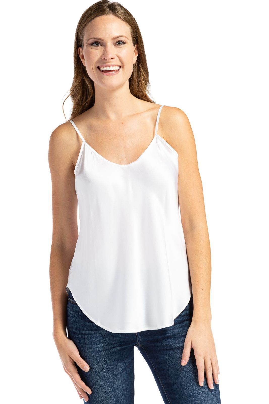 Women's 100% Pure Mulberry Silk Camisole Tank Top with Adjustable Spaghetti Straps | Fishers Finery