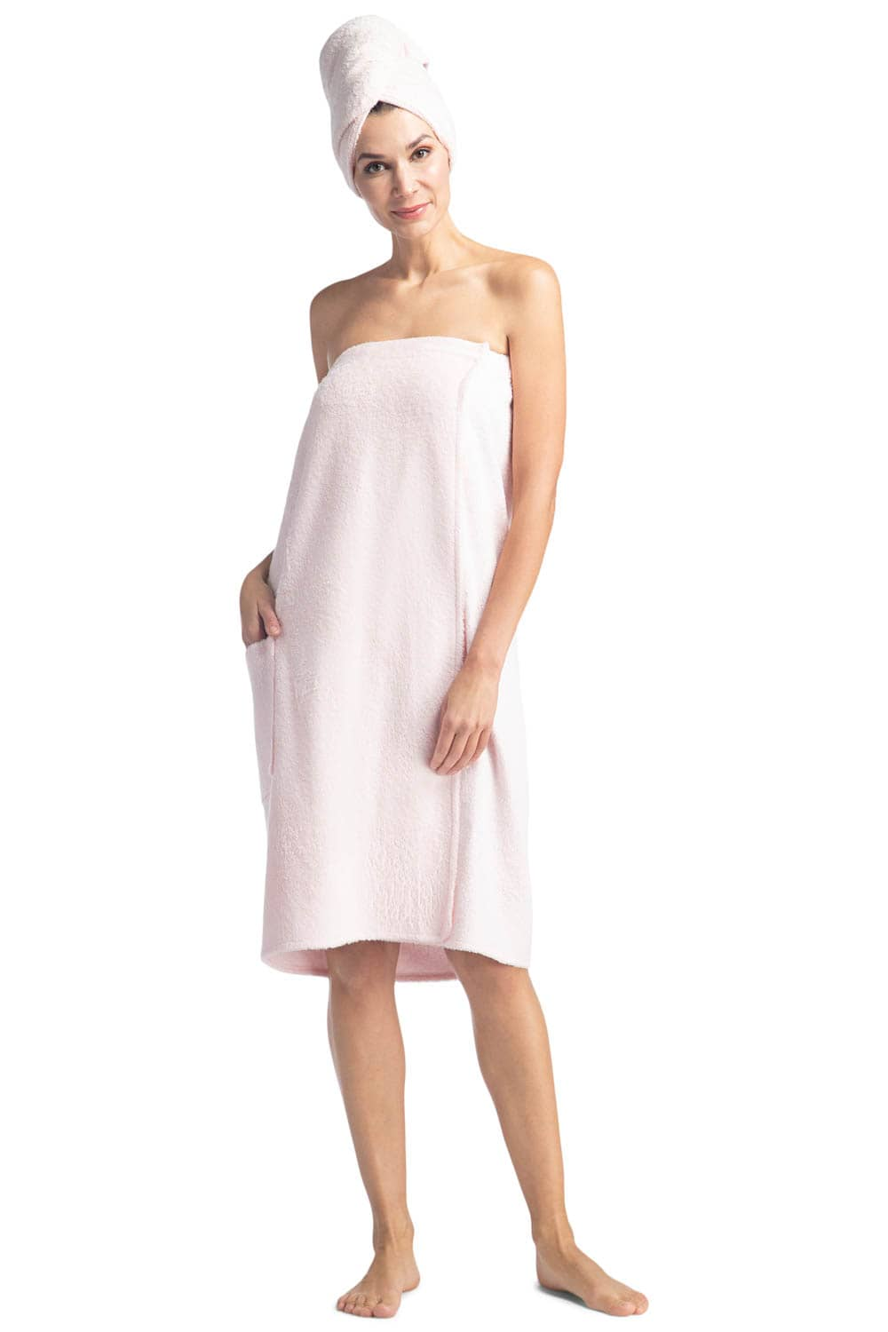 Women's Terry Cloth Spa Package - Body Wrap and Hair Towel - Fishers Finery