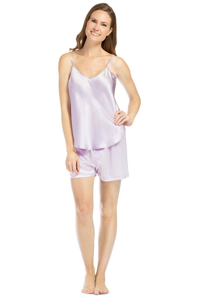 Women's 100% Mulberry Silk Cami and Boxer Pajama Set with Gift Box - Fishers Finery