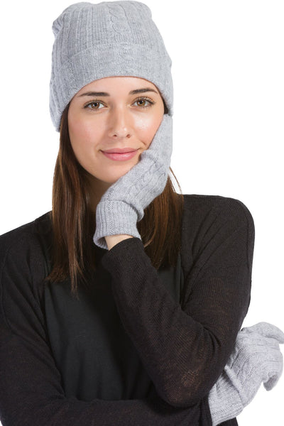 Women's 2pc 100% Pure Cashmere Cable Knit Hat & Glove Set with Gift Box-Fishers Finery