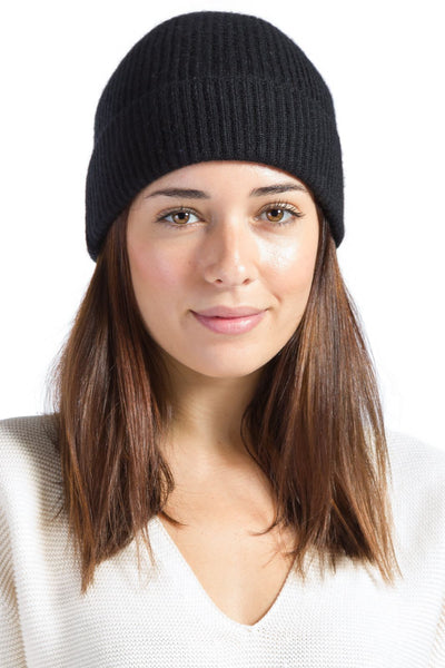 Women's 100% Pure Cashmere Ribbed Hat with Cuff-Fishers Finery